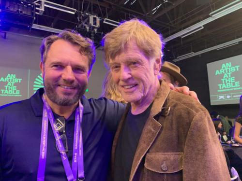 Bryan and Robert Redford at the Sundance Film Festival