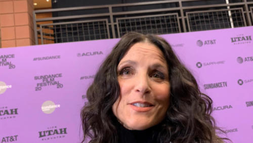 Julia Louis-Dreyfus answering Bryan's questions on red carpet premiere of Downhill